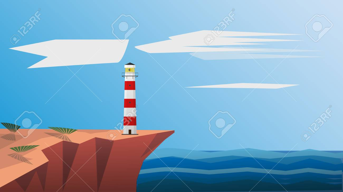 Lighthouse Background Lighthouse On The Sea Vector Illustration Lighthouse Background