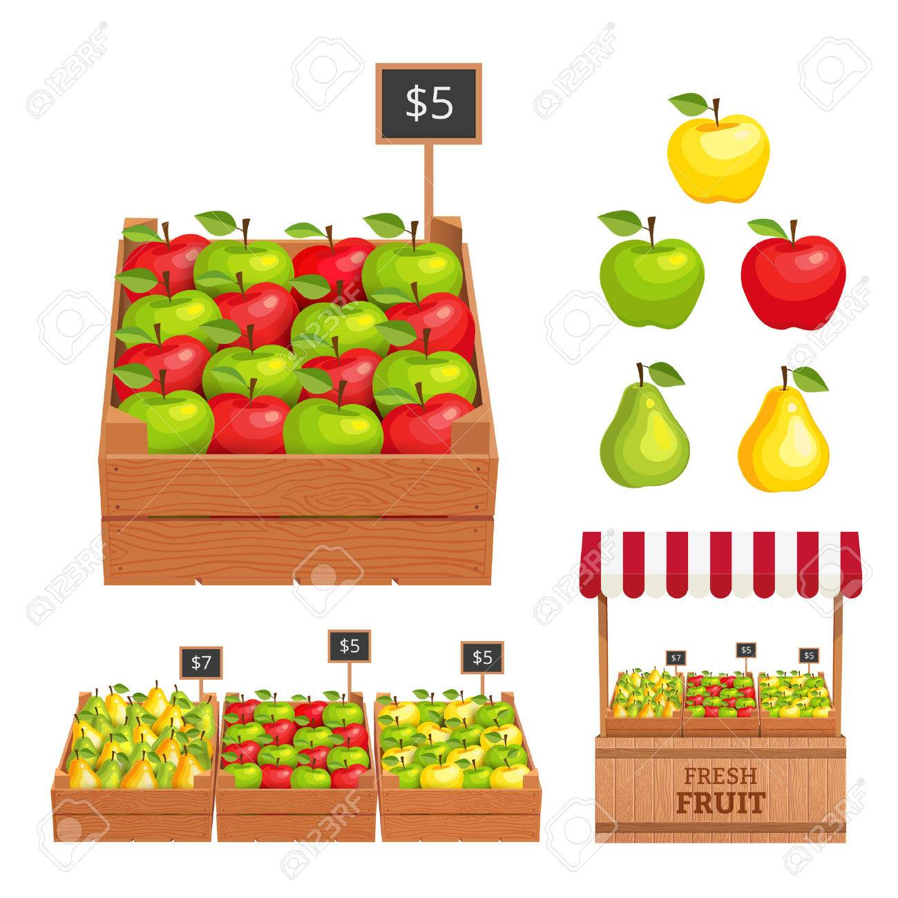 Obstkiste Clipart Stock Photo