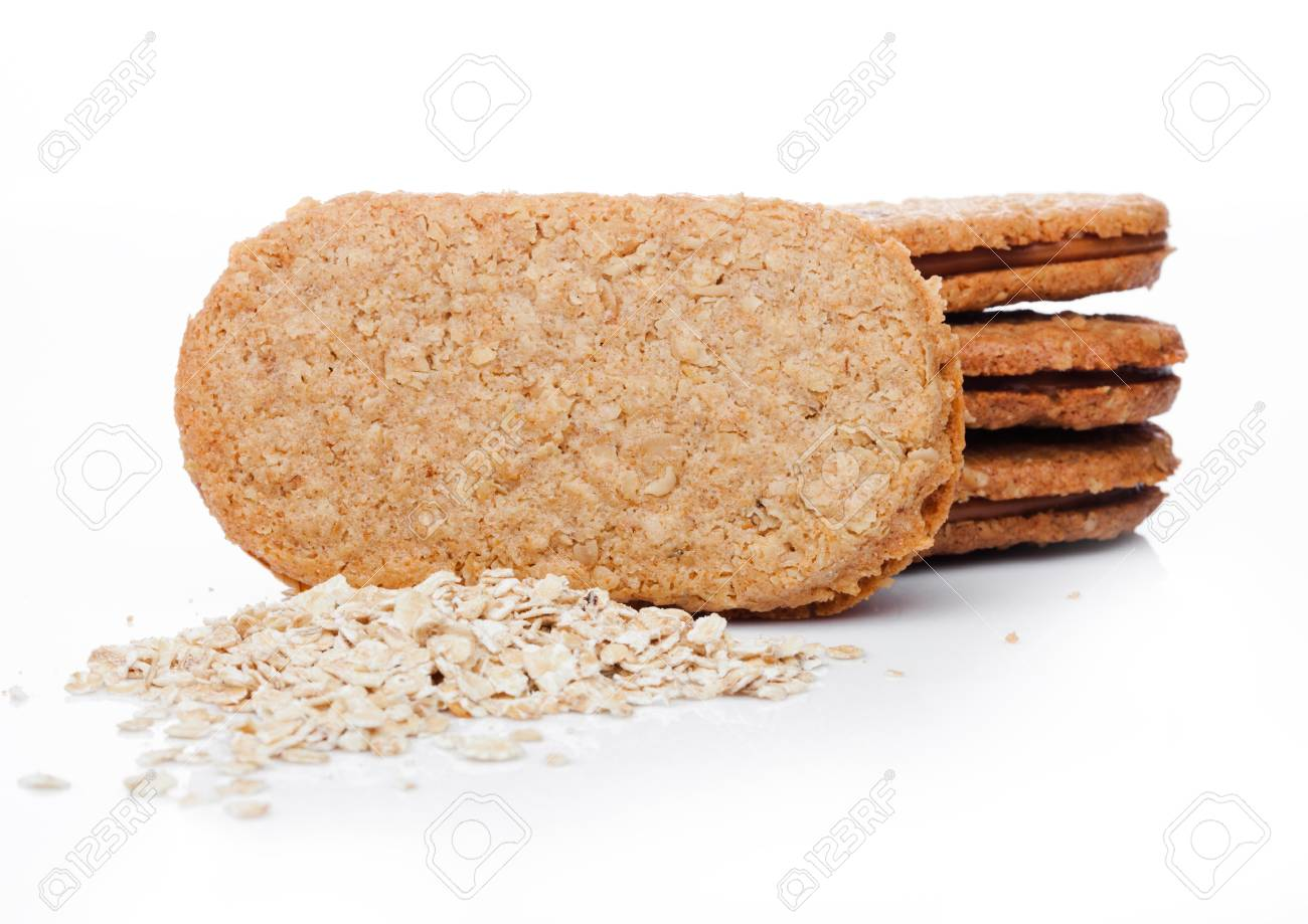 Grain Bio Healthy Bio Breakfast Grain Biscuits With Oats On White Background