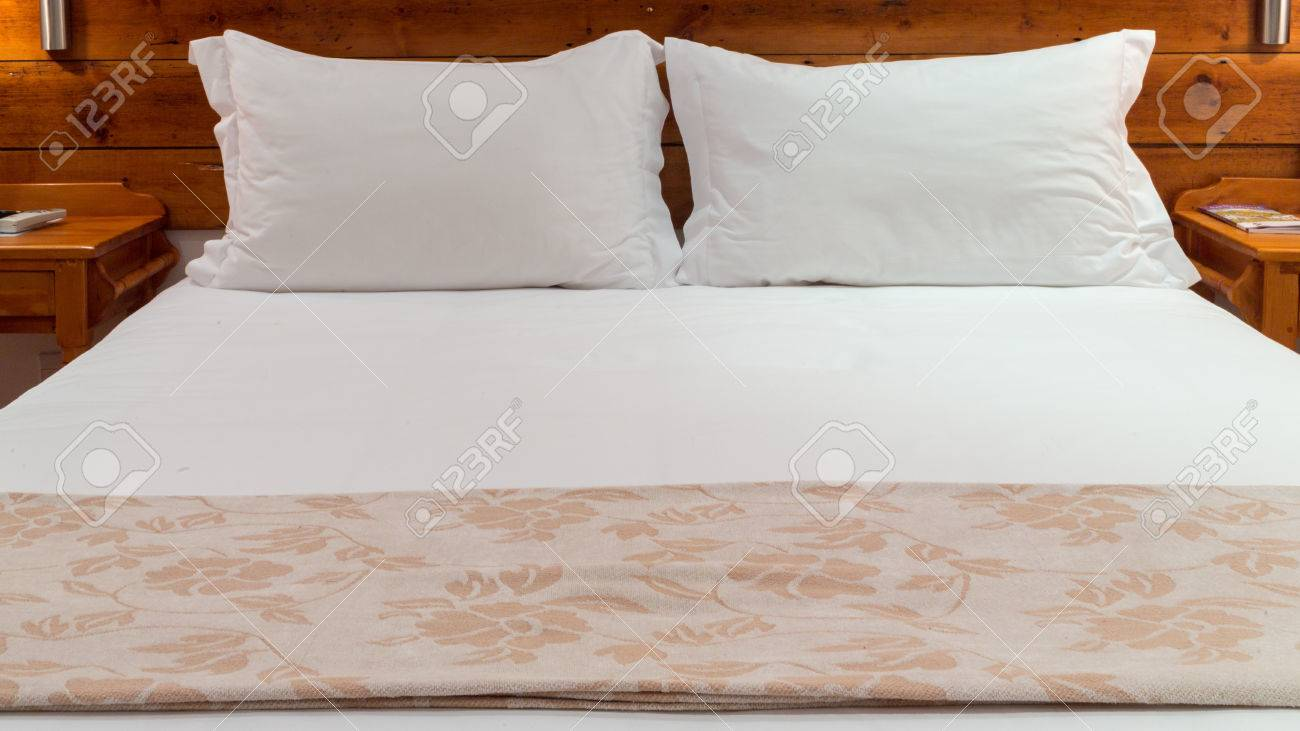 Kissen Bett Stock Photo