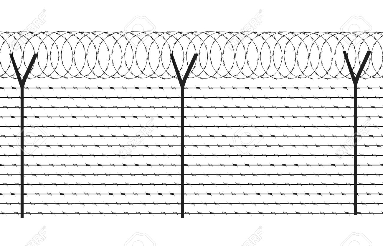 Wire Fencing Fencing Element From A Barbed Wire