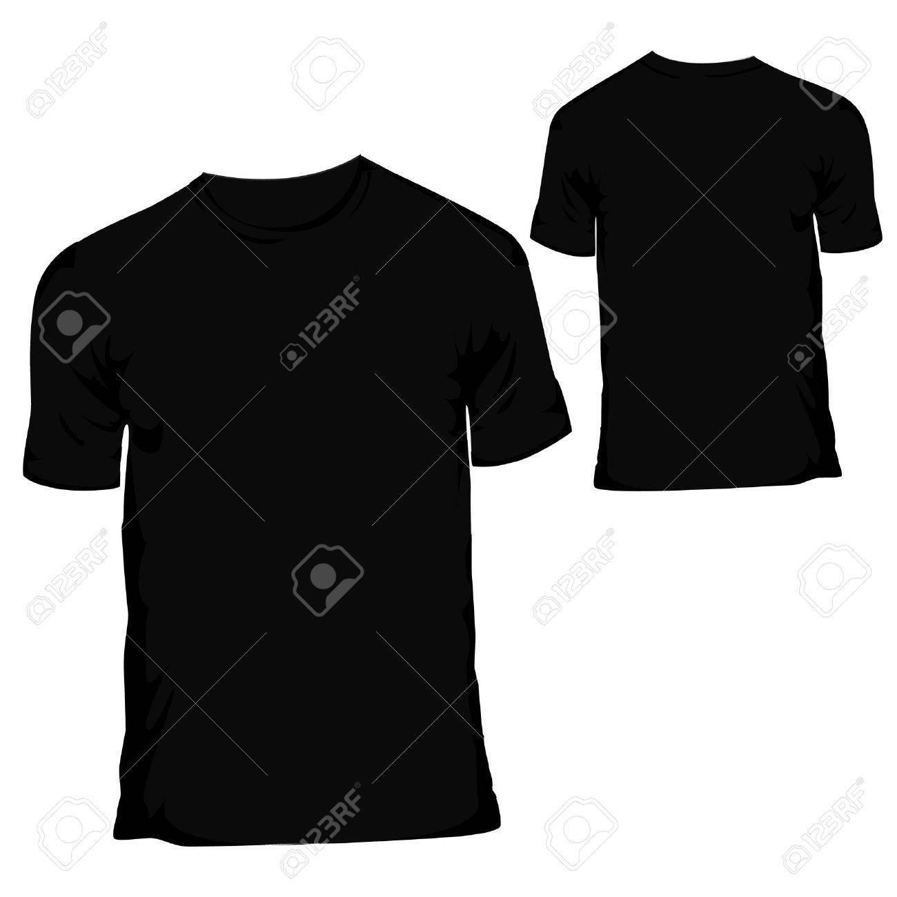 Black t shirt vector -  Vector Black Blank T Shirt Design Template For Menswear Download