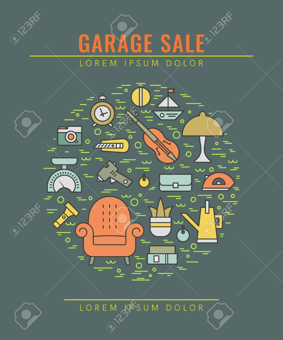 Garage Design Template Vector Line Style Illustration Garage Sale Yard Sale Flyer
