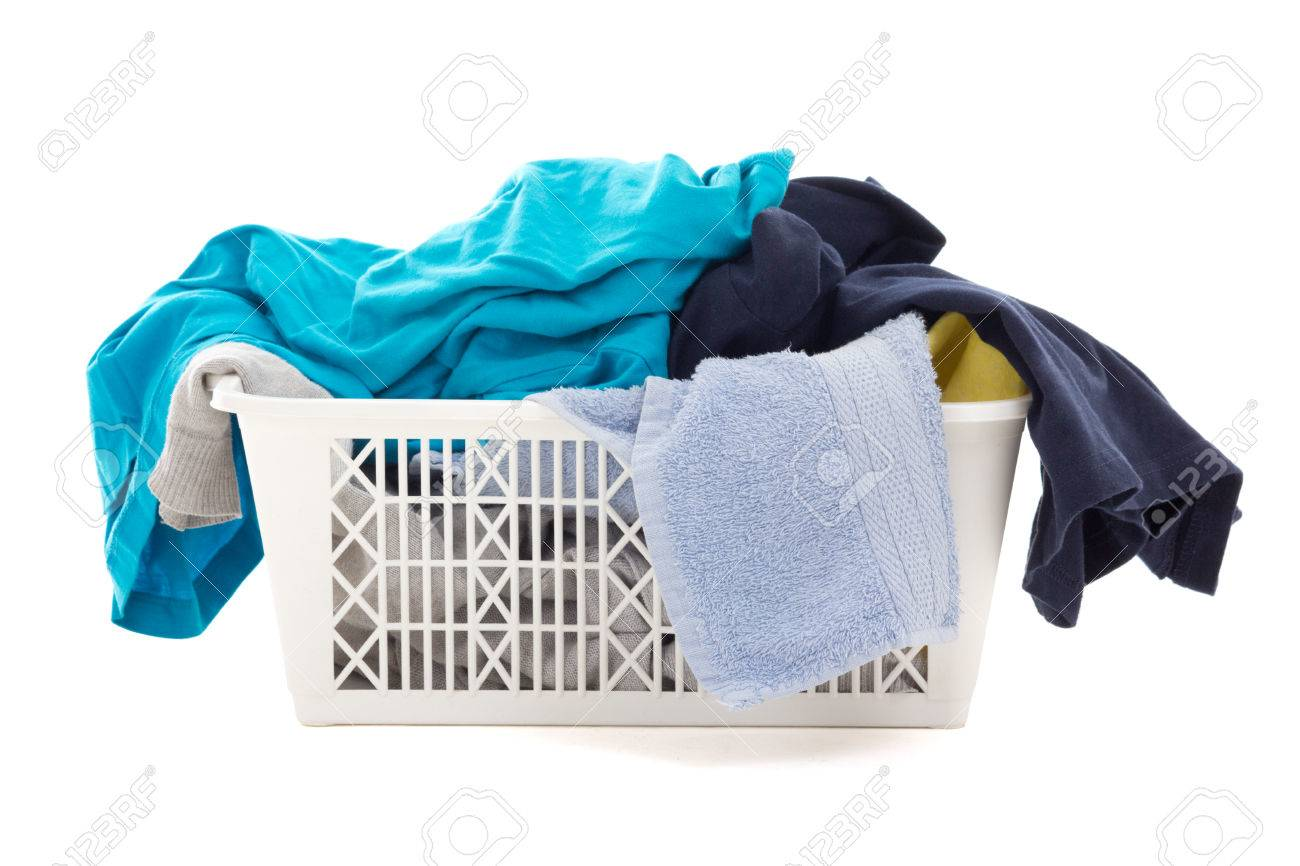 Dirty Laundry Baskets Colorful Dirty Clothes In A Laundry Basket Isolated On White