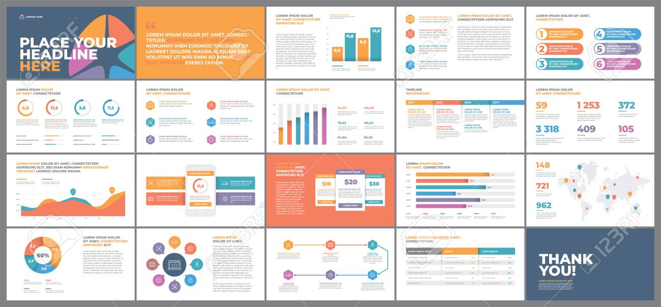 Presentation Template Design Business Data Graphs Vector Financial
