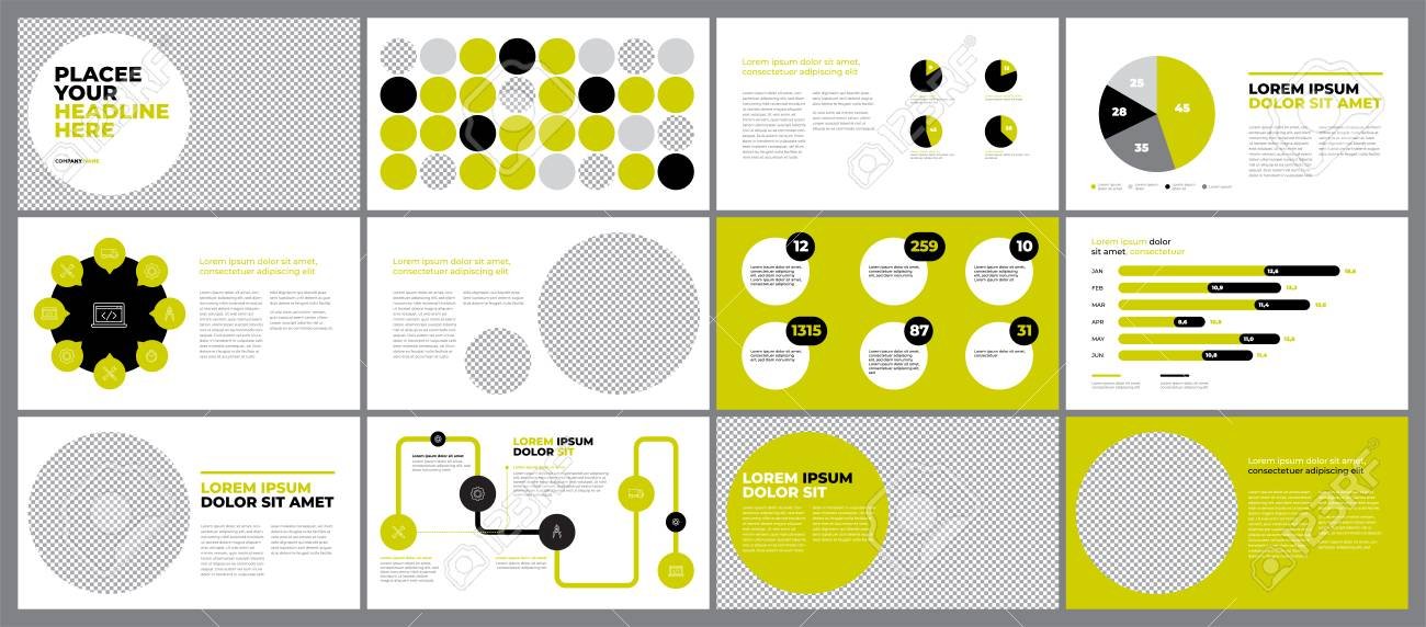 Green Presentation Template Design Business Data Graphs Vector