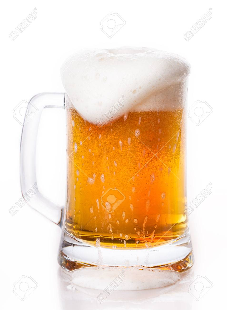 Bier Glas Glass Of Beer Foam Isolated On White Background