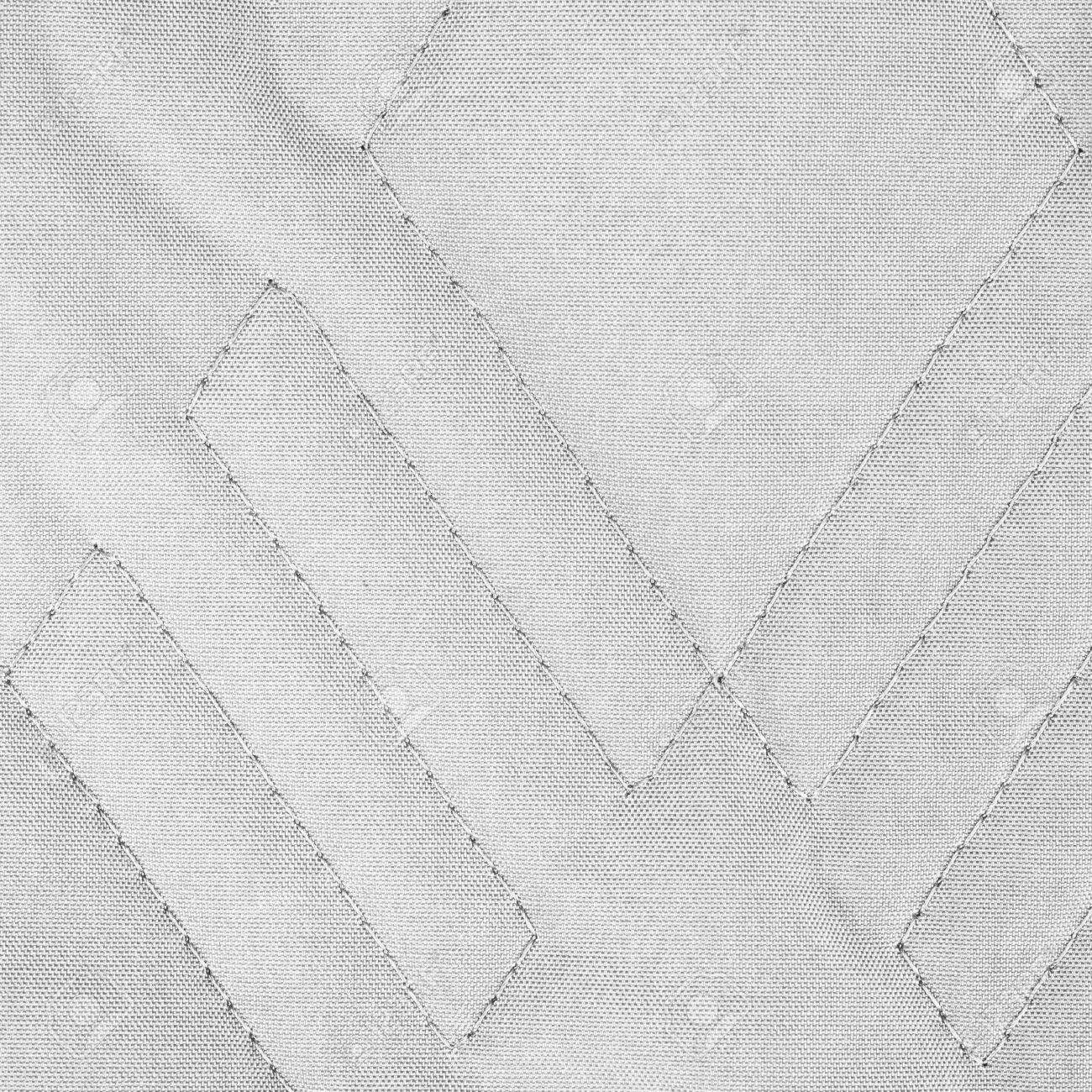 Quilted Fabric White Quilted Fabric Texture With Geometric Pattern
