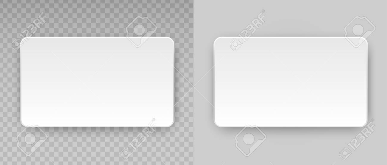 White Blank Horizontal Plastic, Paper Business Card Or Name Credit