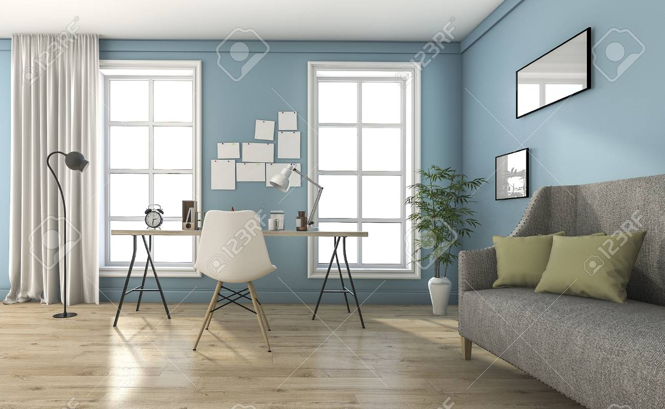 3d Rendering Blue Vintage Living Room With Beautiful Furniture Stock Photo Picture And Royalty Free Image Image 69418265
