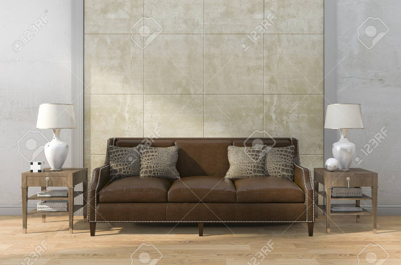 Braunes Ledersofa Stock Photo