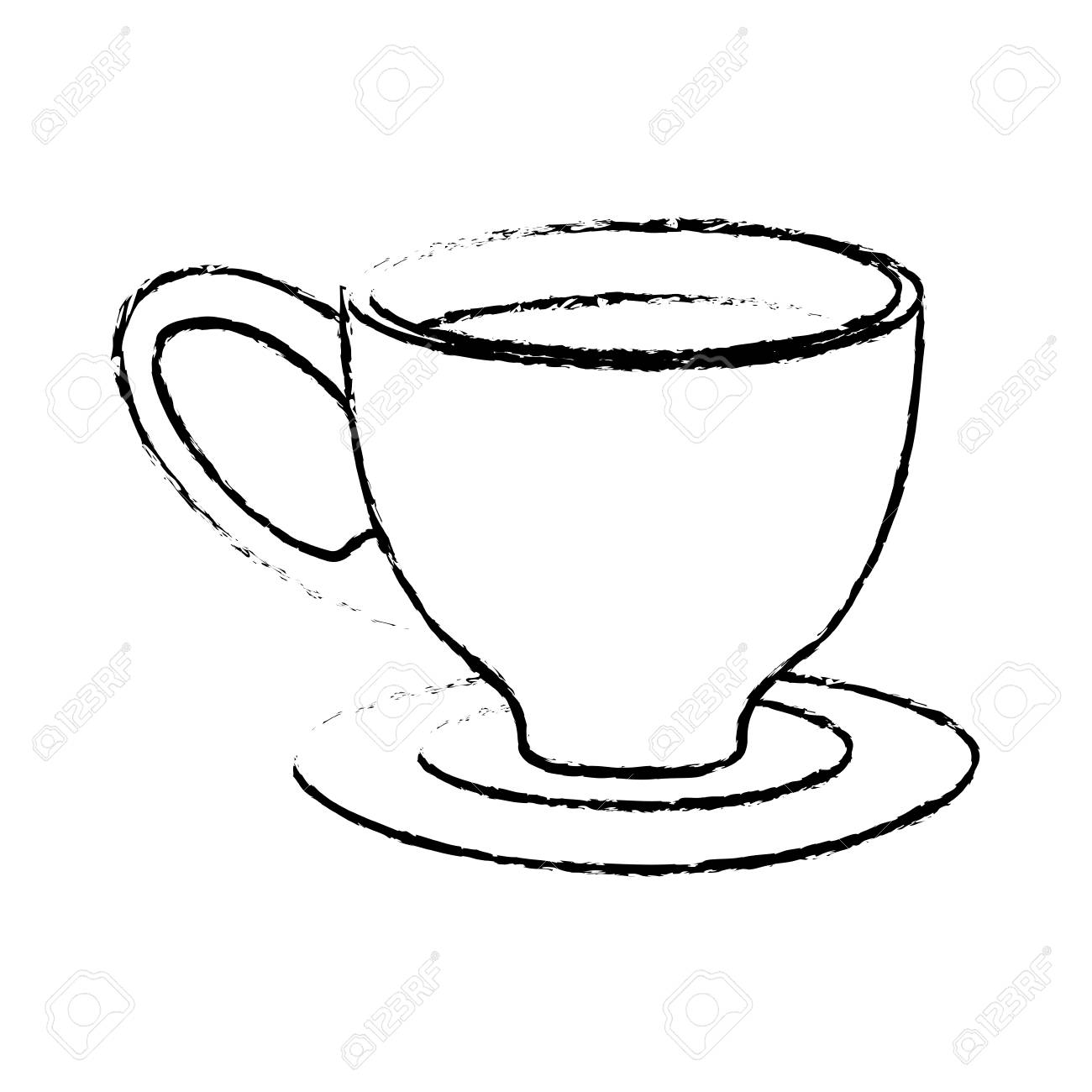Small Coffee Cups And Saucers Contour Small Coffee Cup And Saucer Vector Illustration