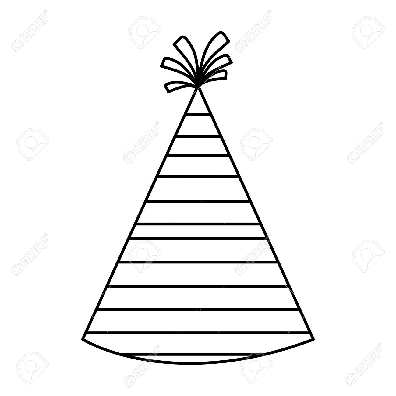 Party Hat Clipart Black And White Party Hat With Stripes Over White Background Vector Illustration