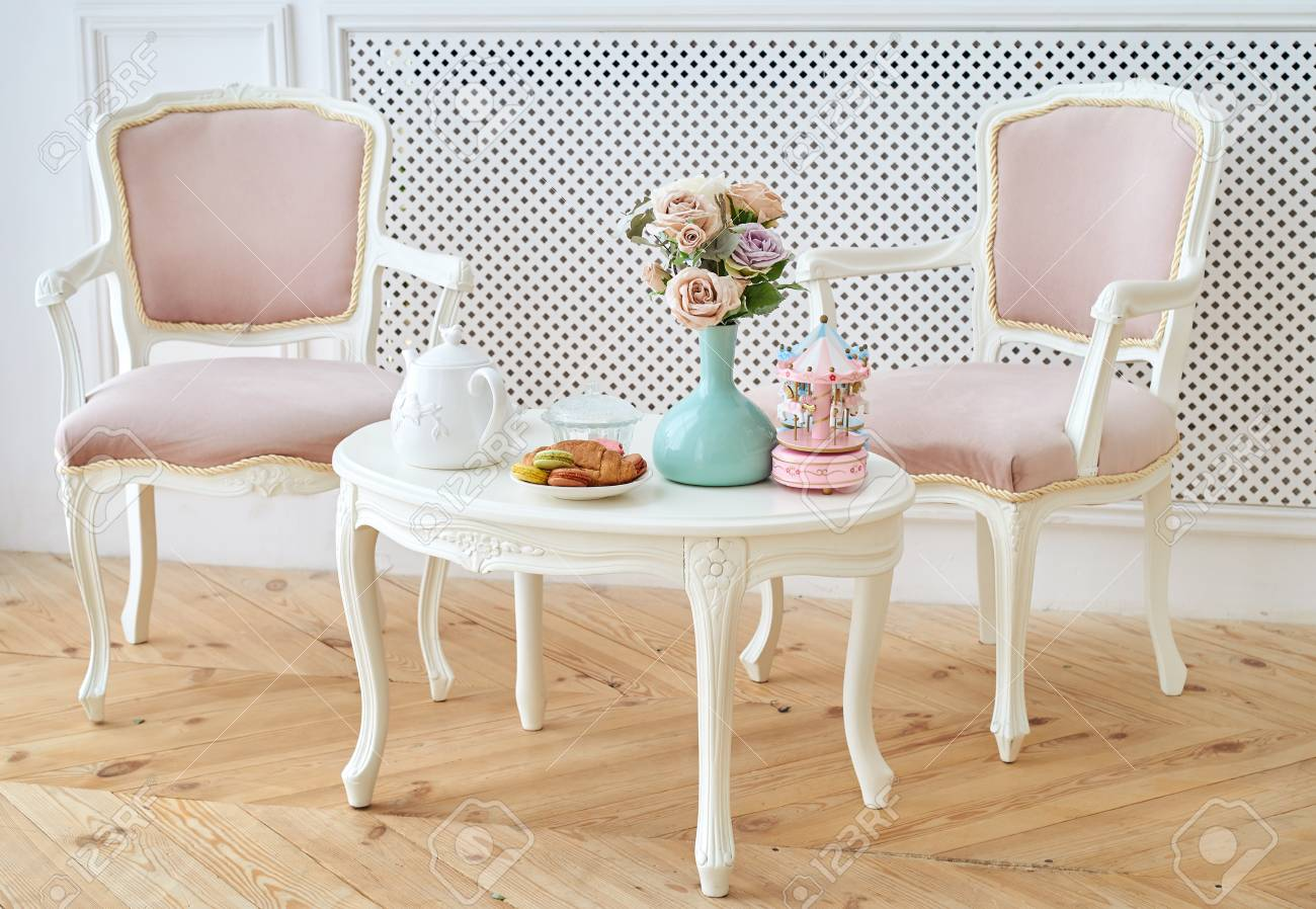 Breakfast Chairs Two Pink Soft Chairs And White Wooden Round Table With Breakfast