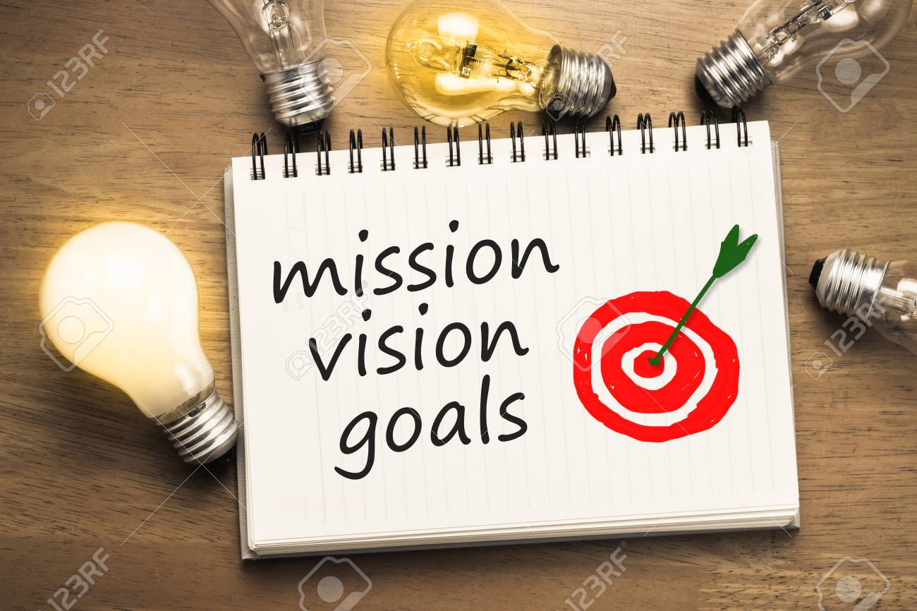 Target Light Bulbs Mission Vision Goals Text On Notebook With Drawing Accurate Target