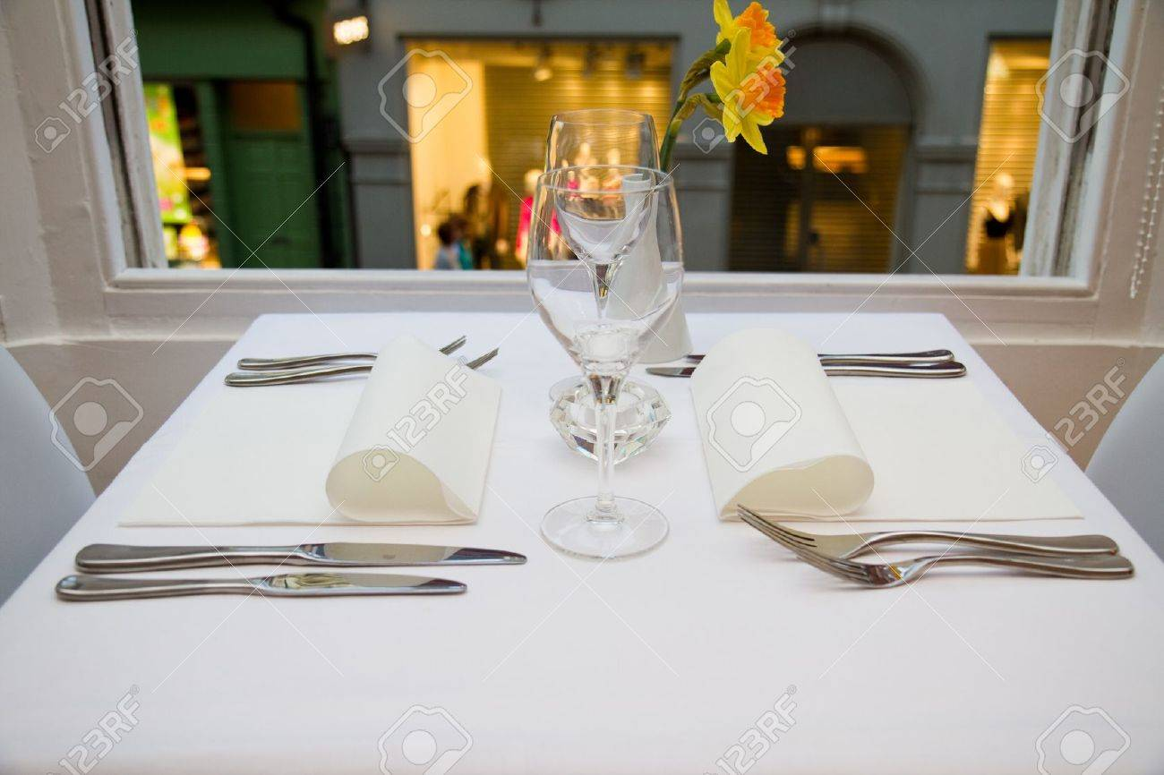 Restaurant table setting for two people stock photo 10415723