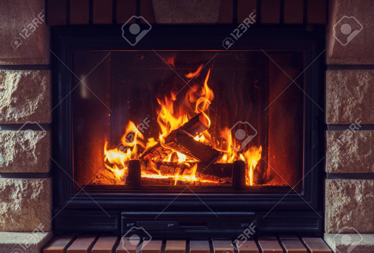Kaminofen Feuer Stock Photo