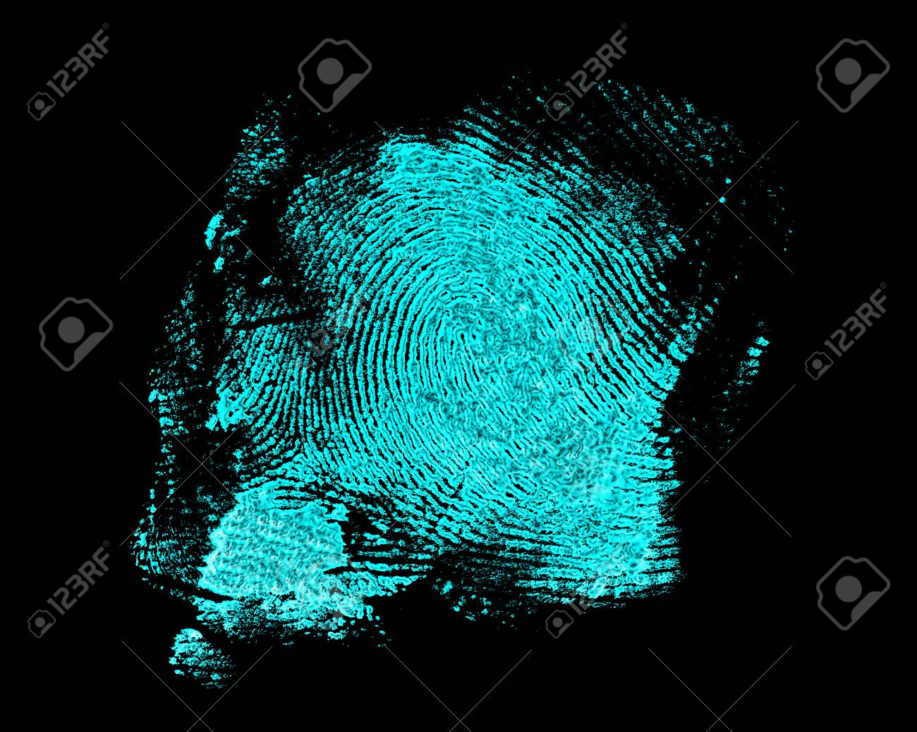 Ultraviolet Lamp Fingerprint On Black Background Fingerprint With Ultraviolet