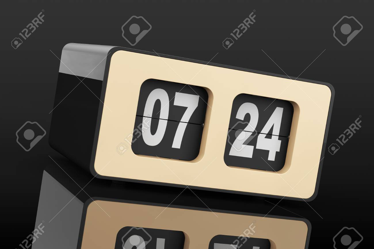 Flip Clock Vintage Flip Clock On A Black Background 3d Rendering