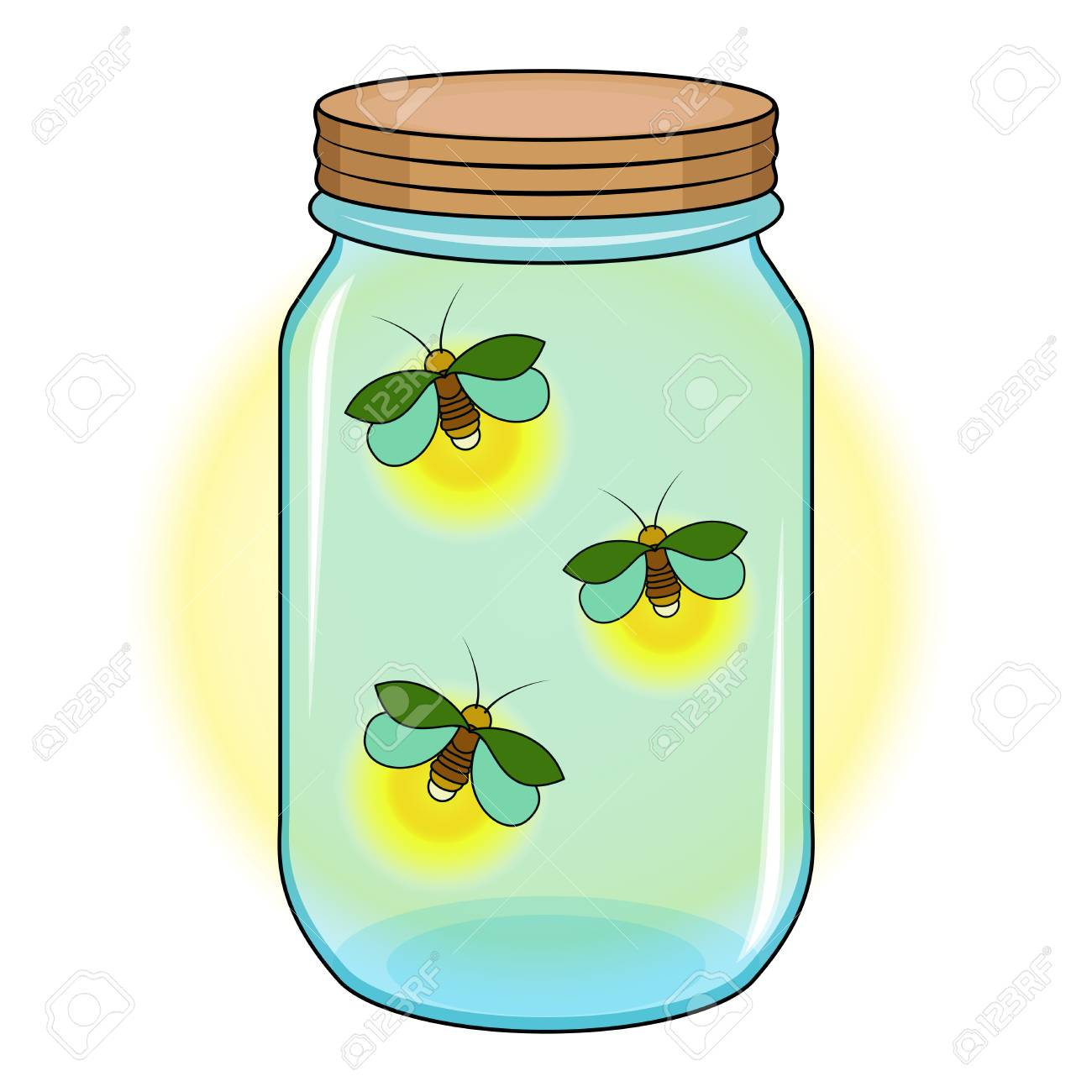 Firefly Jar Art Bank With Fireflies Green Firefly In A Blue Jar
