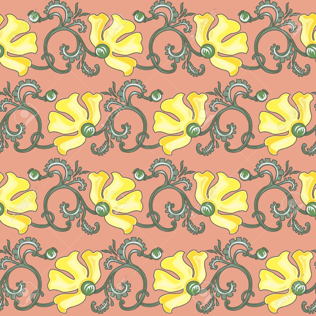 Art Nouveau Yellow Floral Seamless Texture In Art Nouveau Style Yellow Poppy