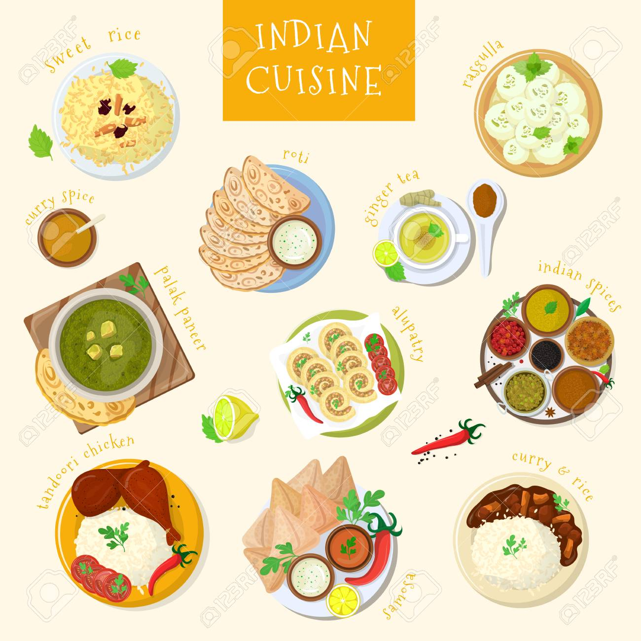 Cuisine India Indian Food Vector India Cuisine And Asian Dishes Masala With