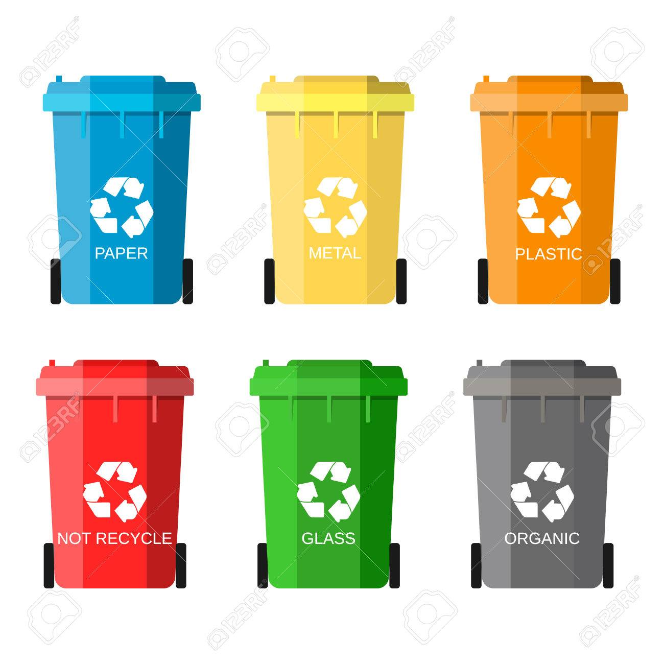 Colorful Garbage Cans Waste Management Concept Waste Segregation Separation Of Waste