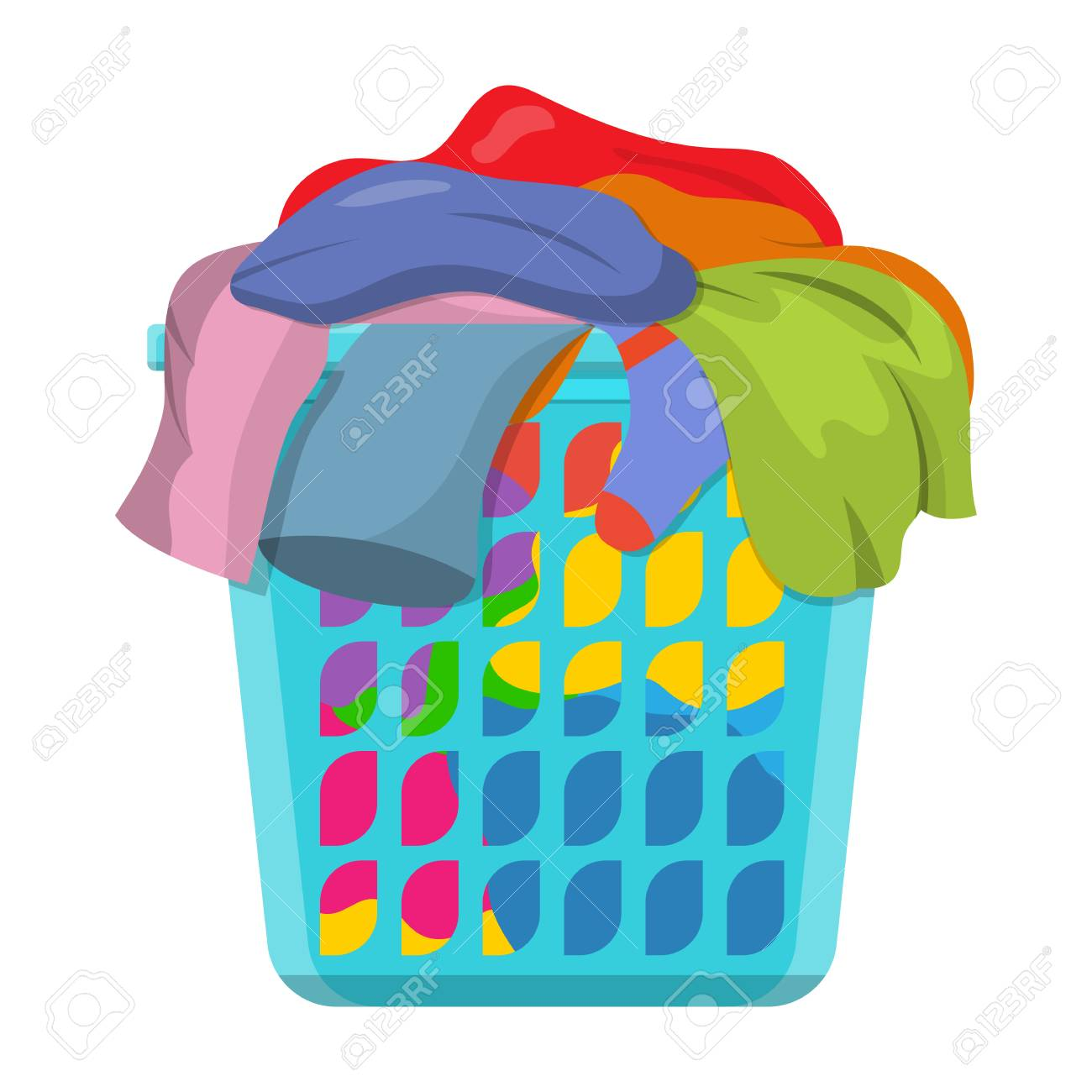 Dirty Laundry Baskets Basket With Linens Laundry Basket With Dirty Clothes Vector