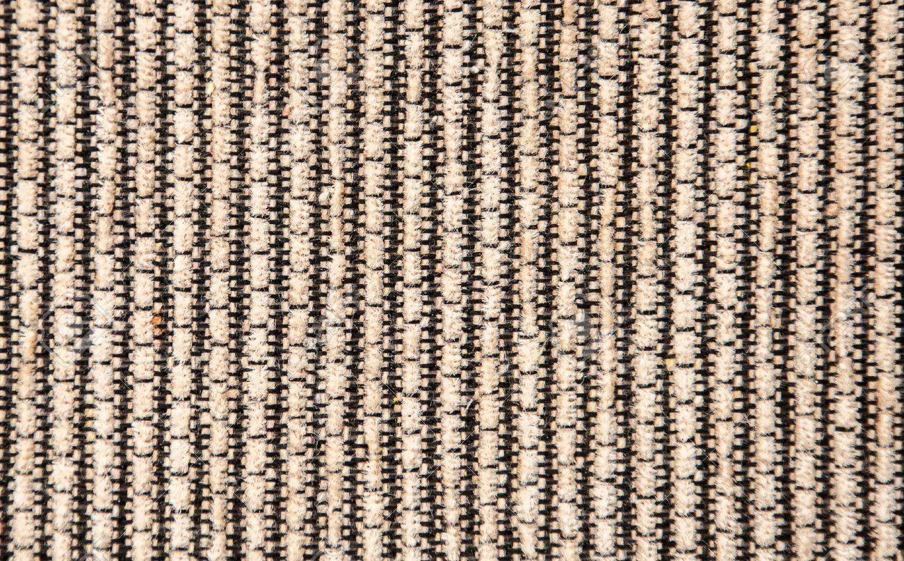 Sofa Fabric Beige Black Striped Textured Corrugated Sofa Fabric Close Up