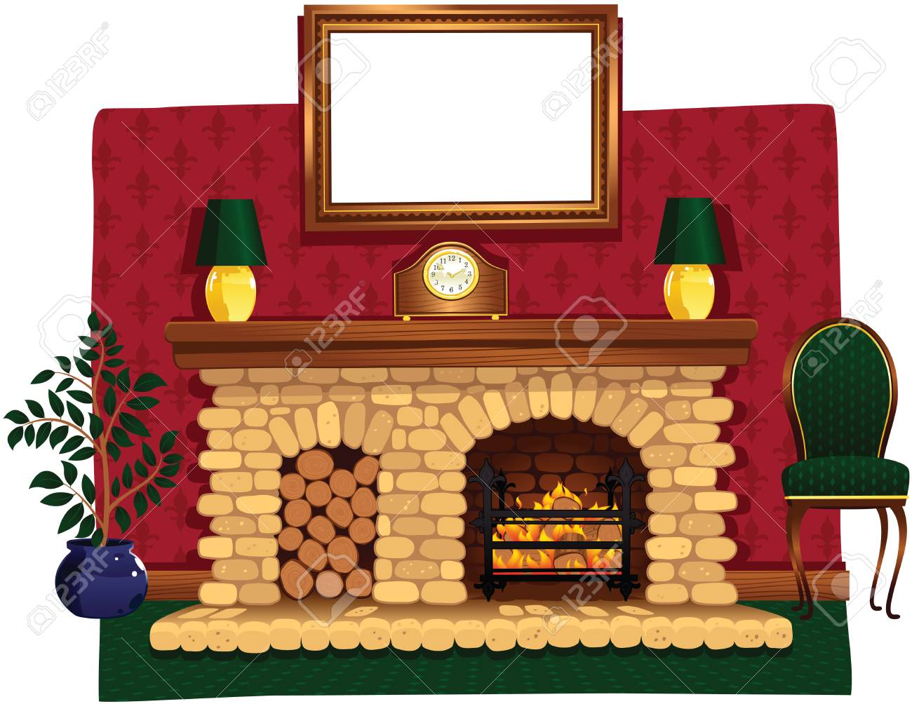 Fireplaces With Stone Surrounding An Illustration Of A Stone Fireplace And Surrounding Hearth