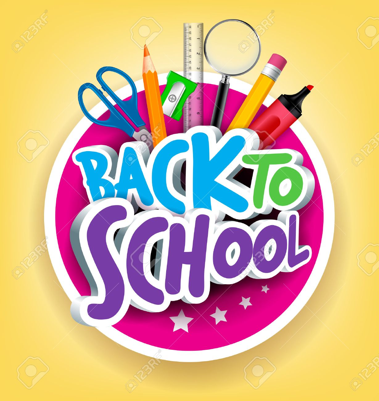 Poster design using 3d objects - Poster Design Using 3d Objects Student School Colorful Realistic 3d Back To School Title Texts Download
