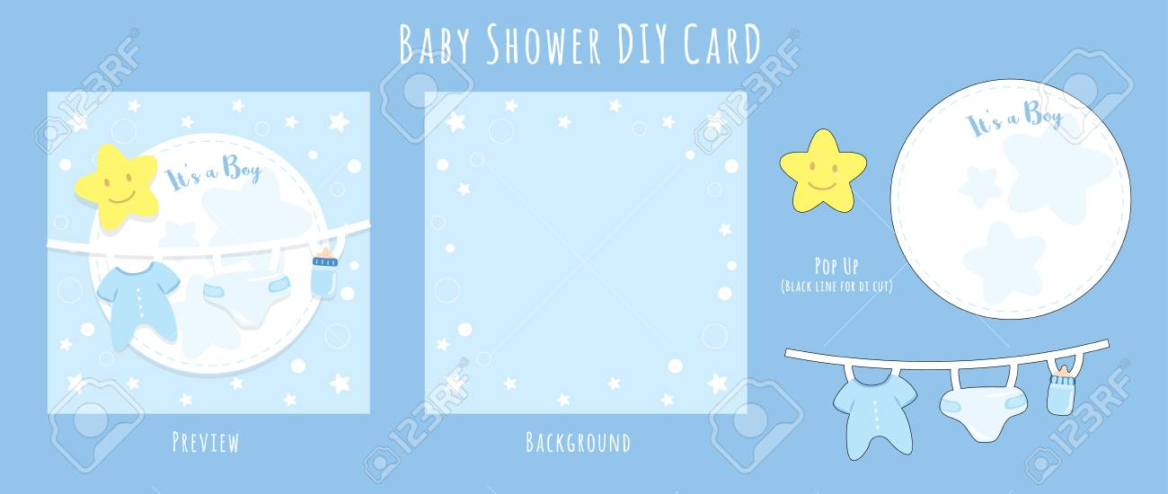 Baby Boy Shower DIY Handmade Card Happy Birthday For New Born