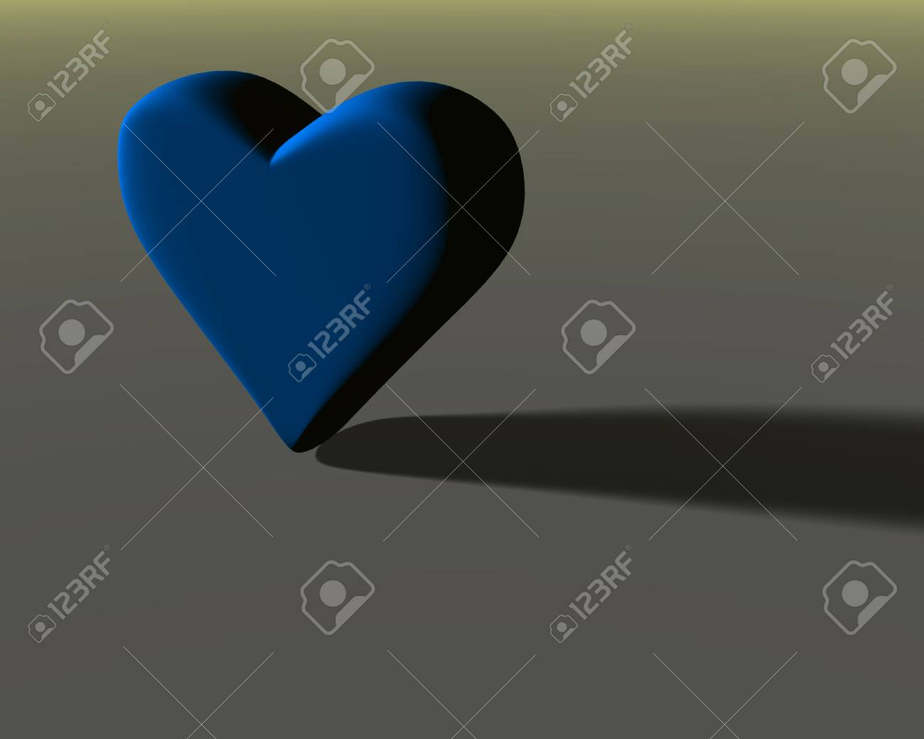 Lit Model Blue 3d Heart Model With Mat Surface Lit From The Side With