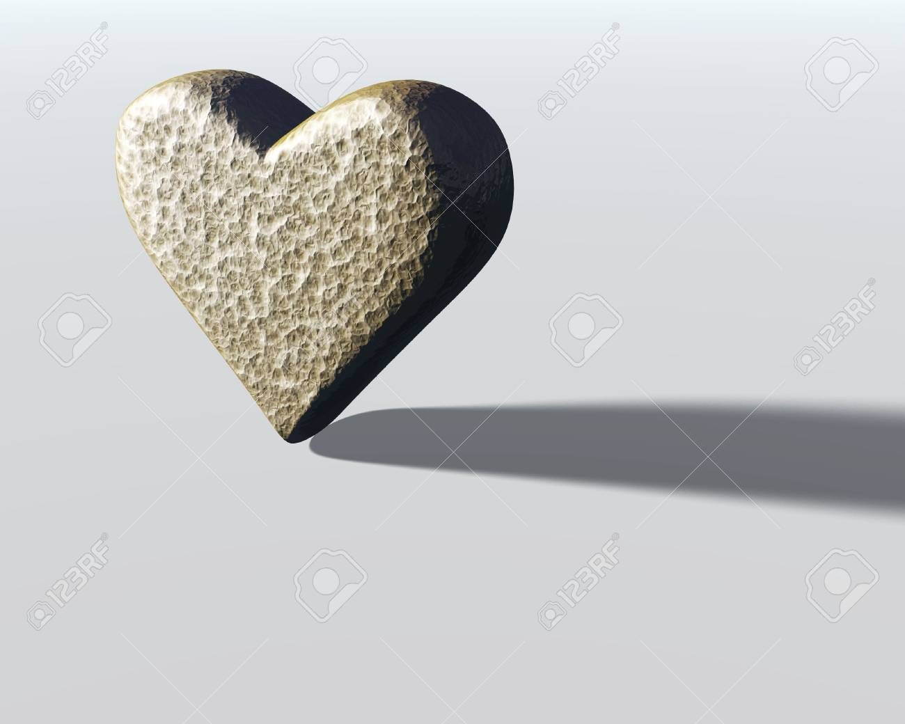 Lit Model 3d Heart Model With Gray Hammered Metal Surface Texture Lit