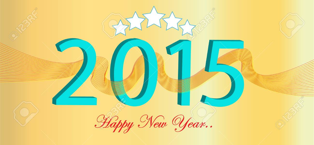 Happy New Year Illustration, For Presentation, Website, Decoration