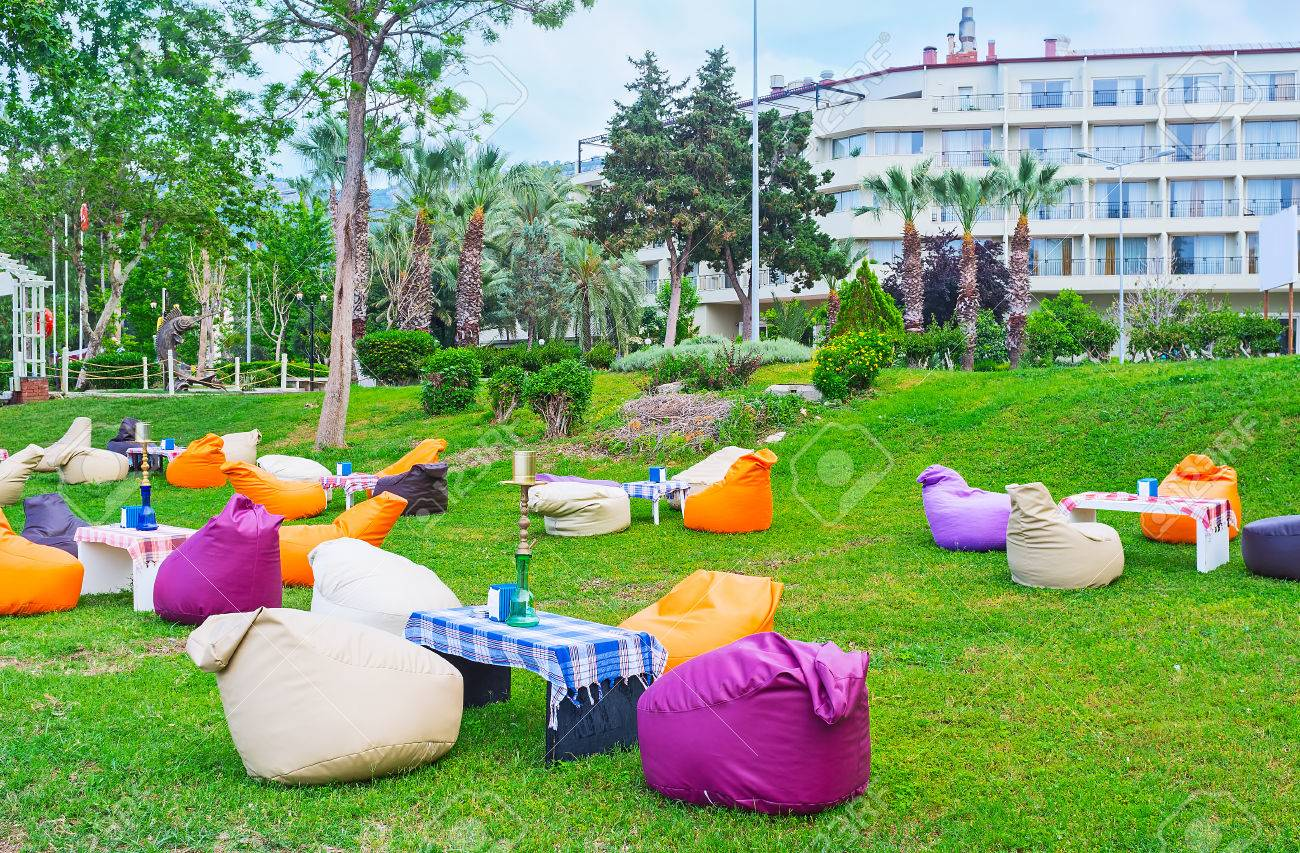 Outdoor Lounge The Lovely Outdoor Lounge Cafe With Colorful Bean Bag Chairs