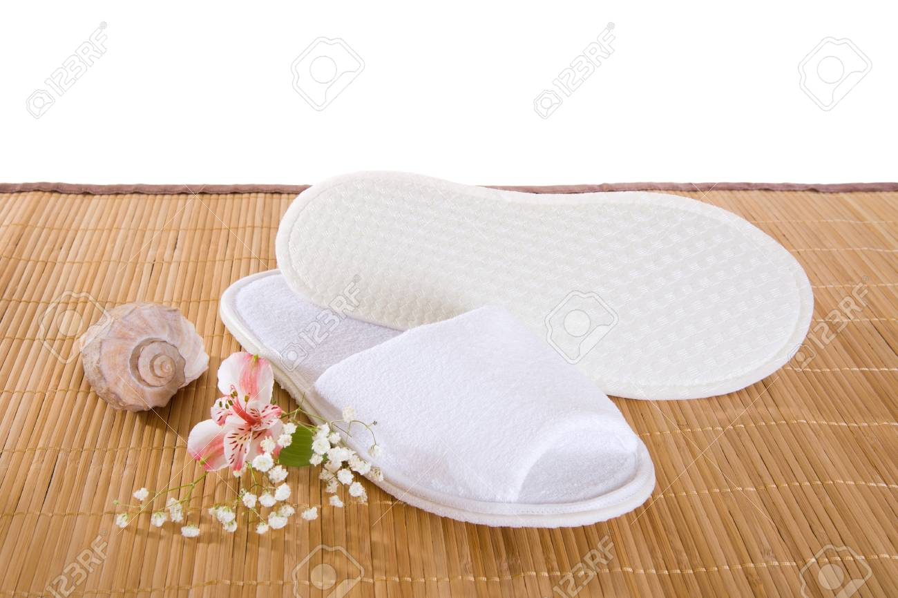 Baby Hotel Slippers Spa Or Hotel Slippers On A Bamboo Mat
