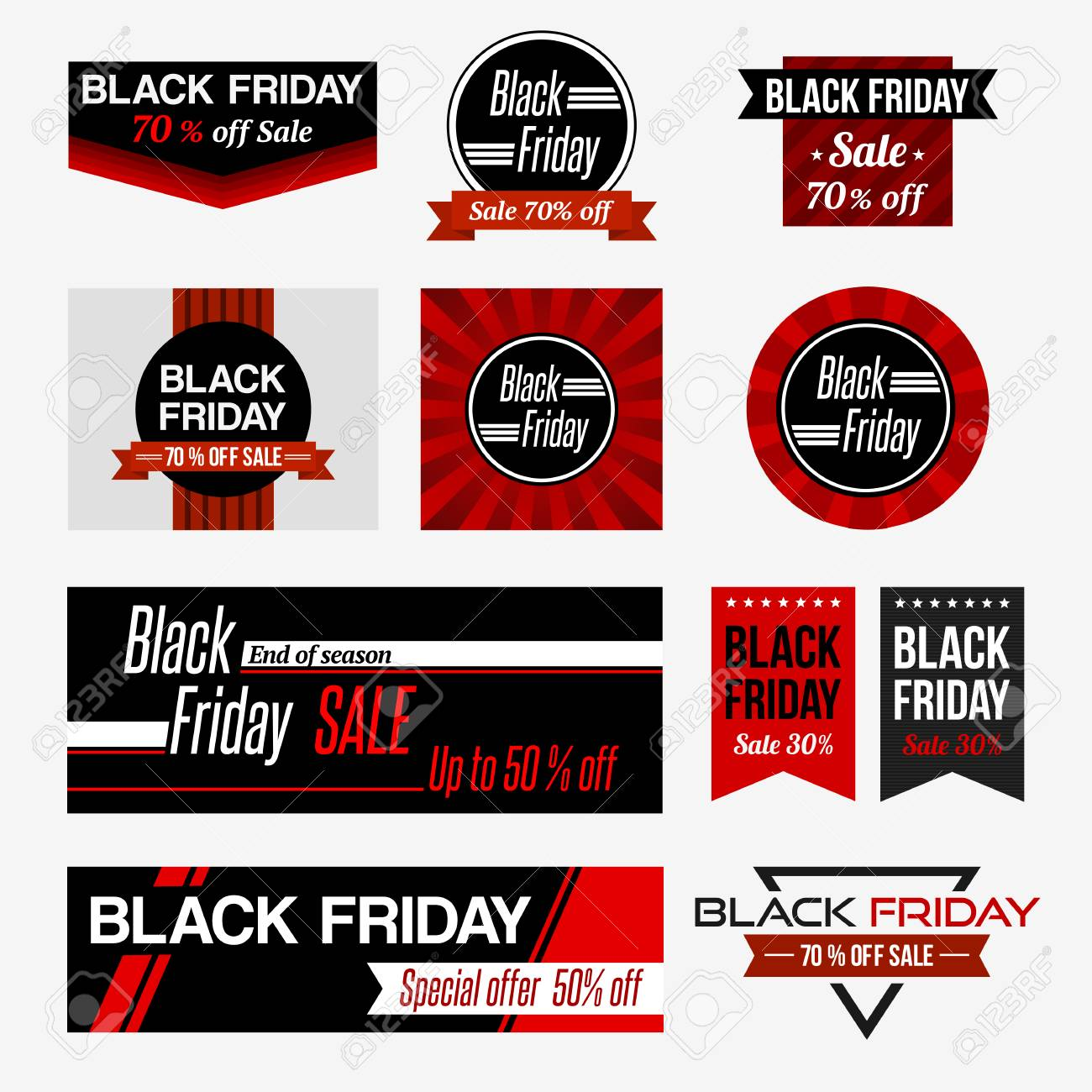 Sale Black Friday Set Of Black Friday Sale Black Friday Banner Design Templates