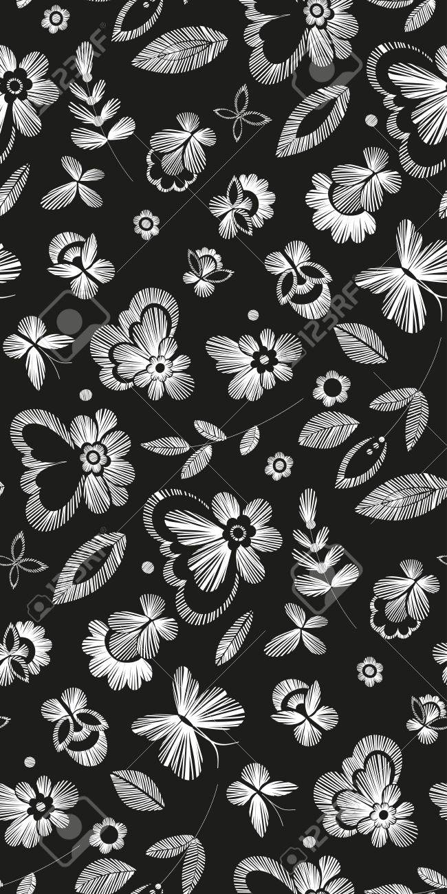 Arte Floral Vetor Floral Seamless Background Pattern With Fantasy Flowers Line