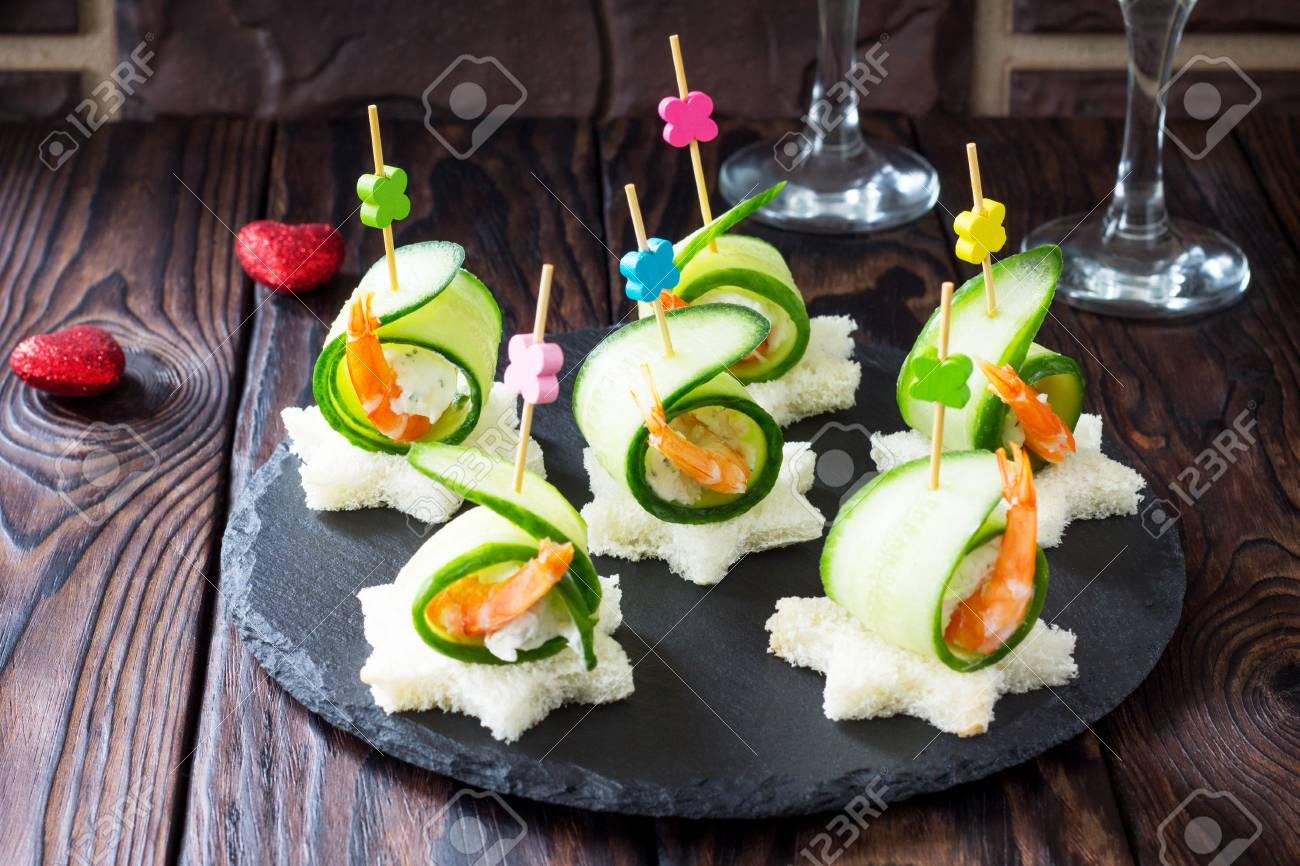 Canapé King Size Appetizer Canape With White Bread Cucumber Ricotta And King