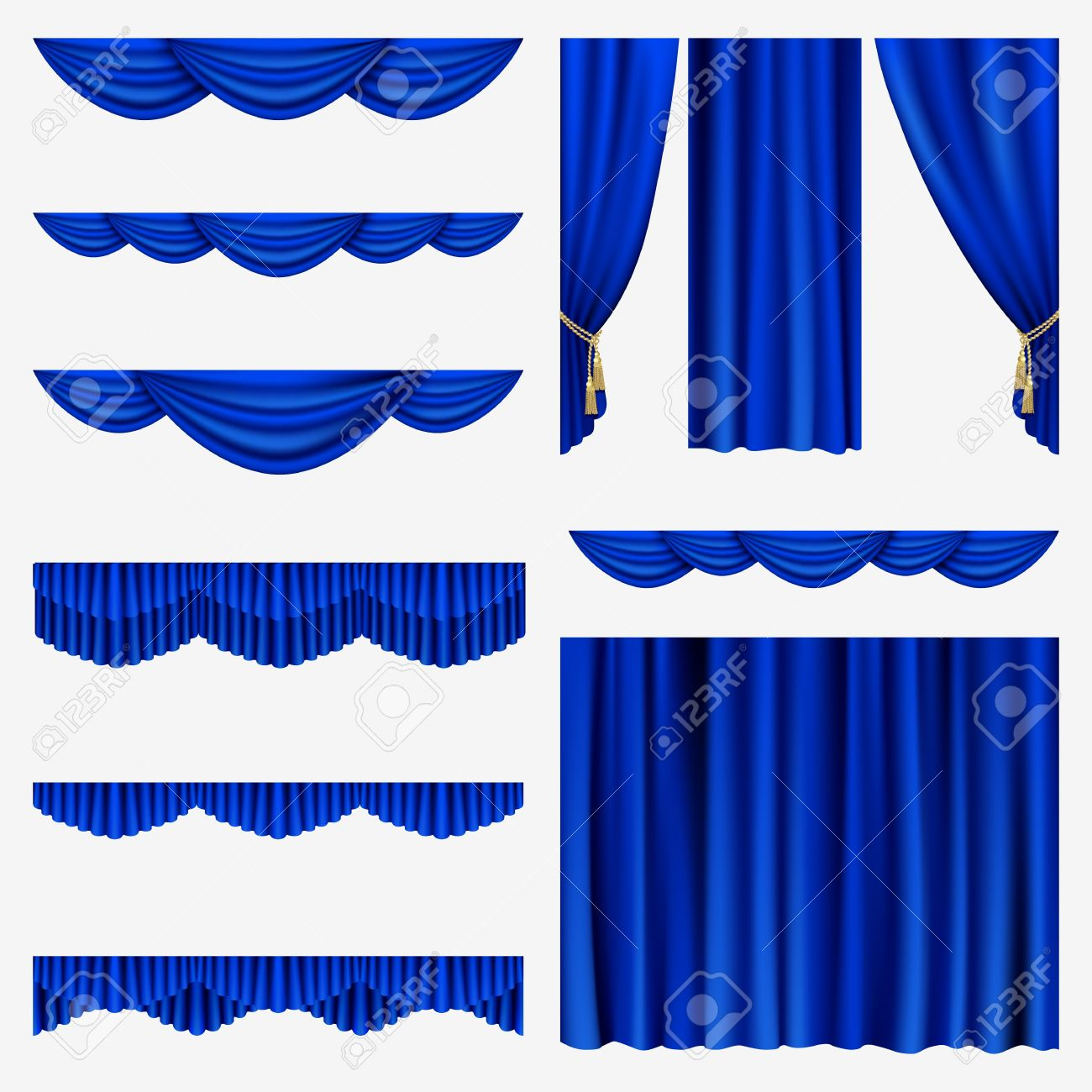 Set Of Blue Curtains To Theater Stage Mesh Royalty Free Cliparts Vectors And Stock Illustration Image 17880194