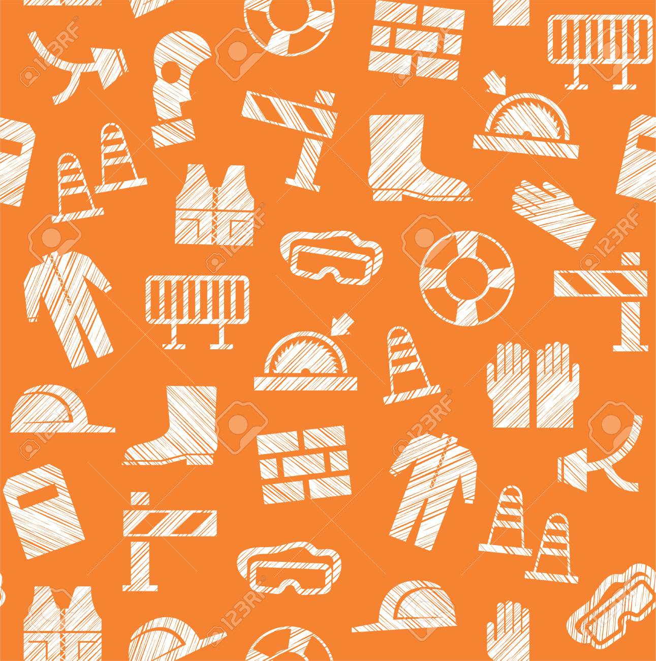 Labor Safety Safety At Work Labor Protection Seamless Pattern Orange Pencil