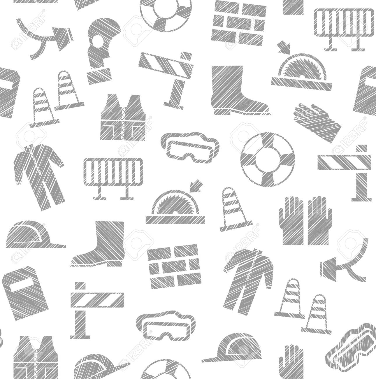 Labor Safety Safety At Work Labor Protection Seamless Pattern White Pencil