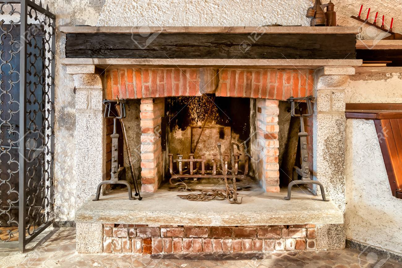 Fireplace Beams Rustic Brick Fireplace With Wooden Beams