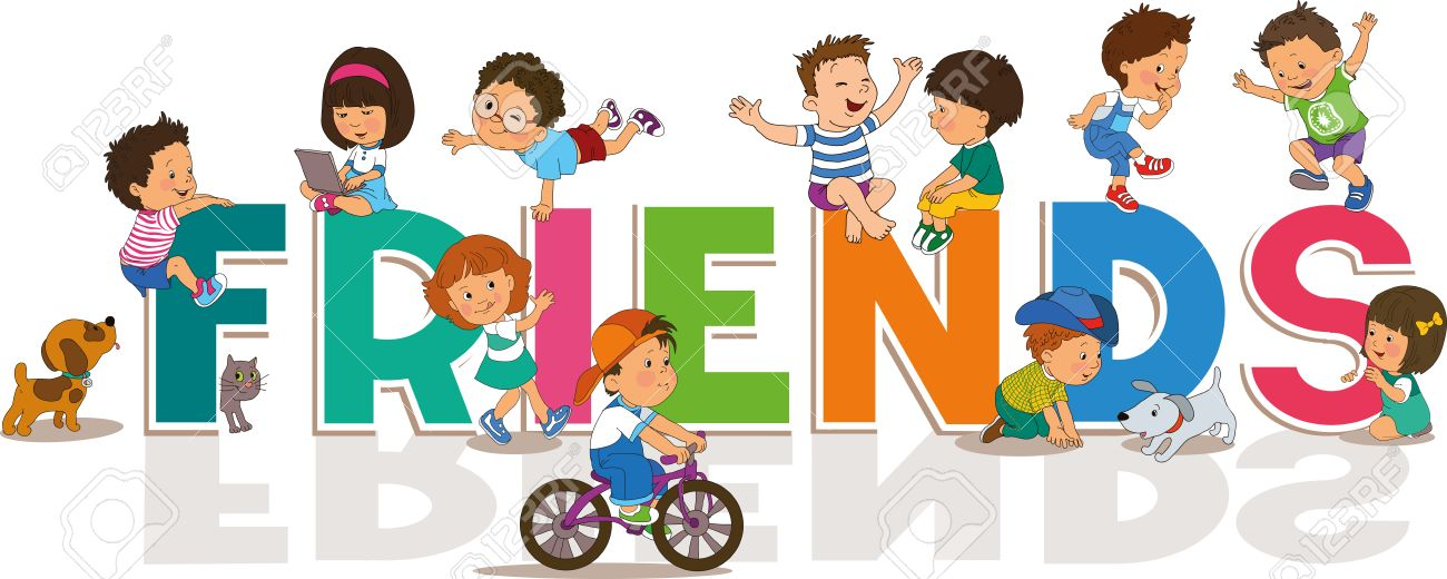 Cartoon Happy Friendship Day Background With Cute Little Boys