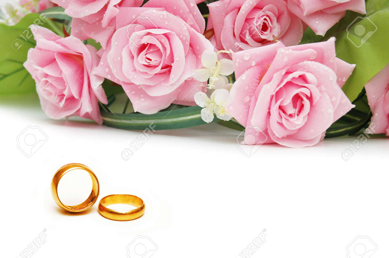 photo wedding concept with roses and rings flower wedding ring Stock Photo Wedding concept with roses and rings