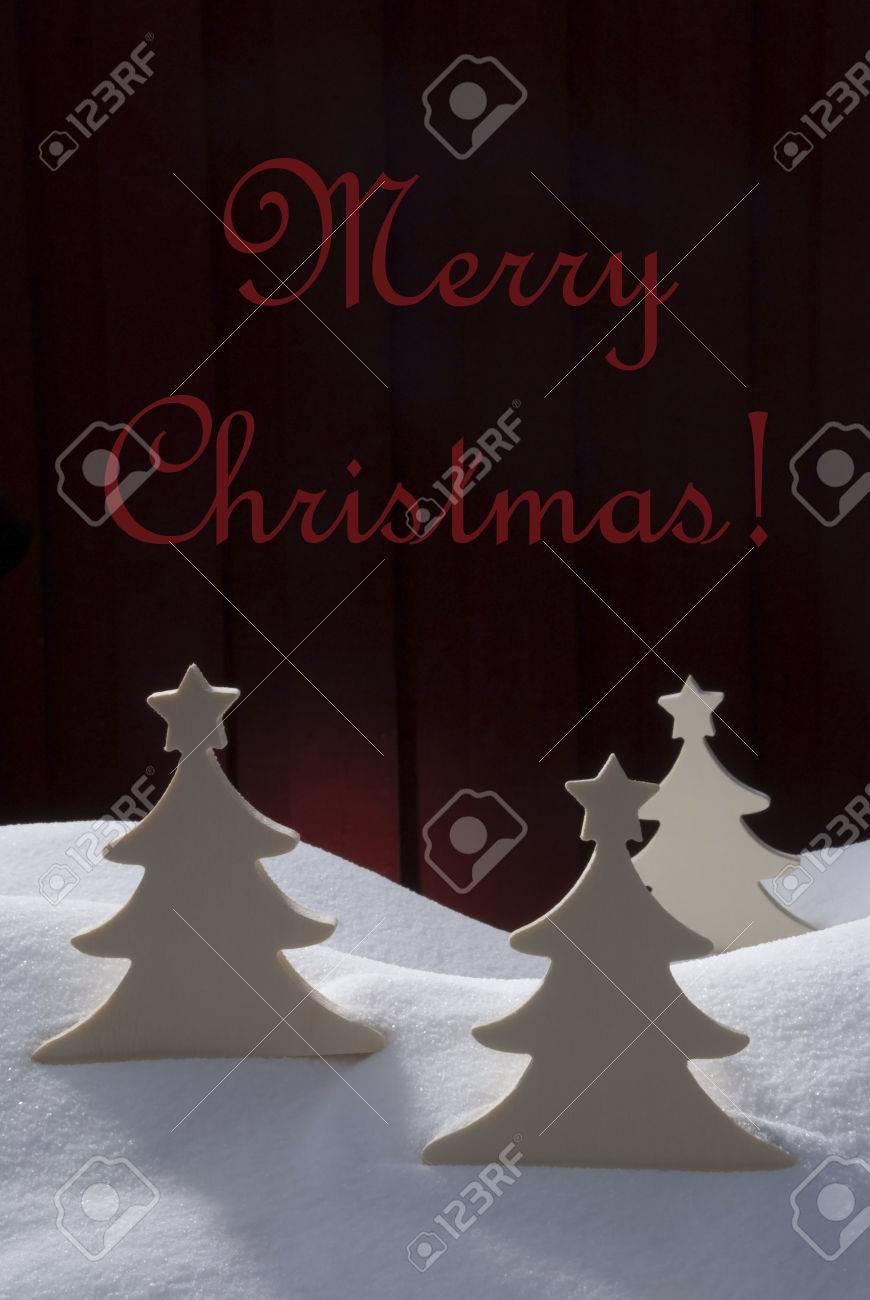 1ac49698f4f Tres árboles De Navidad Blanco En La Nieve Escenario Nevado Como La  Decoración De Navidad Navidad Tiempo O Adviento Fondo De Madera Roja