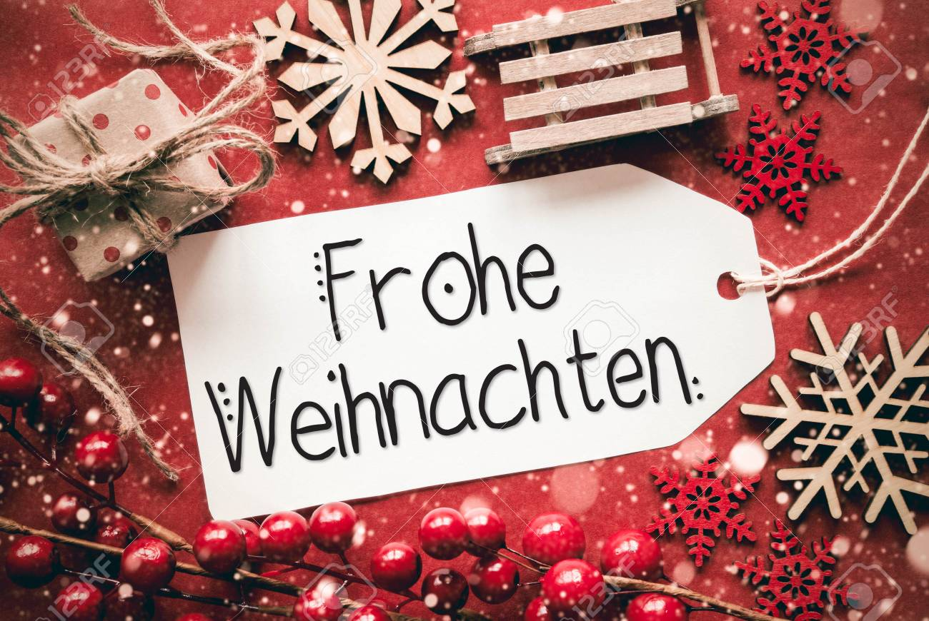 Frohe Weihnachten Flat Lay Red Decoration Calligraphy Frohe Weihnachten Means