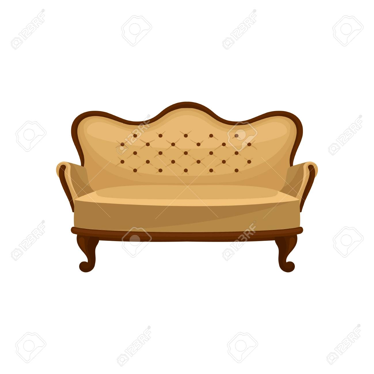 Vintage Couch Cartoon Icon Of Classic Vintage Couch Wooden Sofa With Beige