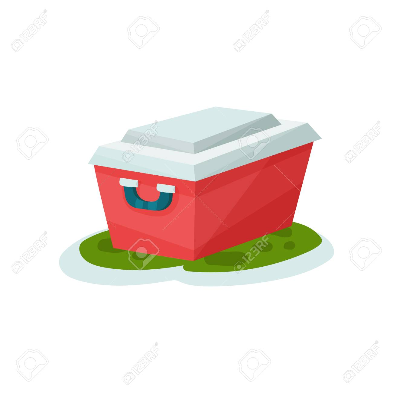 Small Portable Fridge Small Portable Fridge Outdoor Traveling Element Vector Illustration